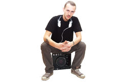 Dj sitting. On a expensive music player Stock Images