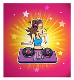 Dj skiner diskomusikklubban Royaltyfri Illustrationer