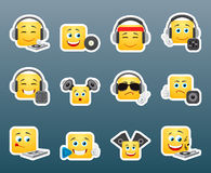 Dj smile stickers set vector illustration
