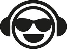 DJ smiley with sunglasses. Vector vector illustration