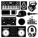 DJ sound equipment black icons. Playing and tuning, lighting, sound speaker and ear phones Stock Image
