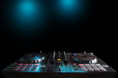 DJ sound equipment at nightclubs and music festivals, EDM, futur. Parties concept, sound technique in the interior of the music club Stock Photography