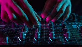 DJ sound equipment at nightclubs and music festivals, EDM, futur. Parties concept, sound technique in the interior of the music club Stock Photo