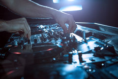 DJ sound equipment at nightclubs and music festivals, EDM, futur. Parties concept, sound technique in the interior of the music club Royalty Free Stock Photos