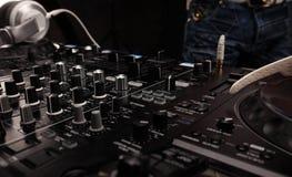 DJ sound equipment at nightclubs and music festivals, EDM, future house music. closeup Stock Photos