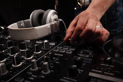 DJ sound equipment at nightclubs and music festivals, EDM, future house music and so on. closeup hands. DJ sound equipment at nightclubs and music festivals, EDM Stock Images