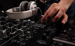 DJ sound equipment at nightclubs and music festivals, EDM, future house music and so on. Parties concept, sound technique. DJ play Royalty Free Stock Images