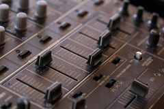Dj sound mixer  with knobs and sliders Stock Photo