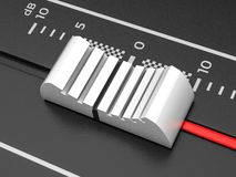 Mixing slider. DJ sound mixing console with slider. 3d illustration royalty free illustration