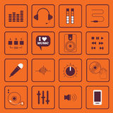 DJ, sound, and music flat icons set Royalty Free Stock Photo