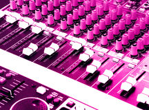 DJ Sound and music mixer panel Stock Photo
