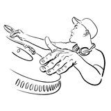 DJ speelt muziek Royalty-vrije Stock Afbeelding