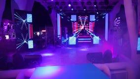 DJ on stage. Club night life, DJ show, Disco on the beach, DJ works, party in the club, DJ on stage, Disco in a nightclub, DJ working, Bright club party, Dj stock footage