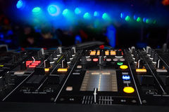 DJ stand. In the club glow Stock Images