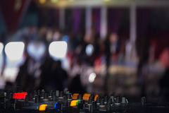 DJ stand. In the club glow Royalty Free Stock Photos
