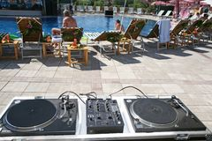 DJ stand near a pool Royalty Free Stock Image