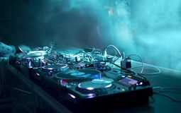 Dj stand at a party royalty free stock photos
