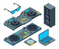 DJ studio. Music tools for party isolated on white vector illustration