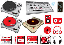 Dj Stuff. Set of vectorial icons and illustration dj and electronic music related. Decks. vinyls, 303 synthesyzer and gear icons
