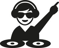 DJ with sun glasses turntables stock illustration