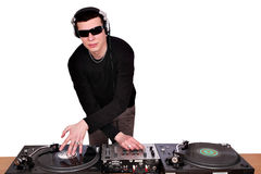 Dj with sunglasses play music Stock Photography