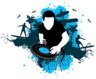 DJ surf style. DJ mixing with surf style royalty free illustration