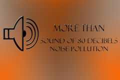 A dj symbol drawn and indicates more than 80 decibels NOISE POLLUTION. Above 80 decibels Noise pollution written on a gradient and the shape of DJ or speaker Stock Photography