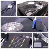 Dj table collage. Turntable and mixer closedup parts Royalty Free Stock Images