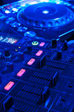 Dj tools. Audio control console and spin table Stock Images