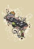 DJ turntable. Illustration of a DJ turntable Stock Image