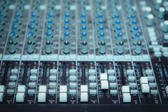 Dj turntable, buttons equipment for sound mixer control Stock Image