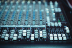 Dj turntable, buttons equipment for sound mixer control Royalty Free Stock Photos