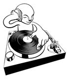 DJ on turntable decks Stock Images