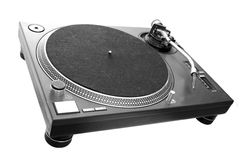 DJ Turntable isolated on white. A black turntable isolated on white Royalty Free Stock Photos