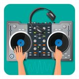 DJ turntable, modern headphones and human hands that play music Royalty Free Stock Photos