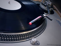 Dj turntable needle on record Royalty Free Stock Image