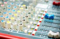DJ turntable sound mixer in nightclub. DJ sound mixer in nightclub Royalty Free Stock Photos