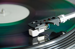 Dj turntable with spinning record Royalty Free Stock Image