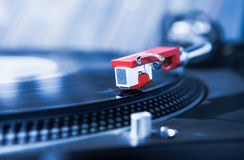 Dj turntable vinyl record player close up Royalty Free Stock Photo