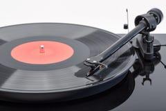 Black vinyl record. Vinyl player for vinyl discs. Stock Photo