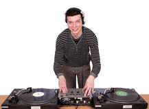 Dj with turntables. Play music Stock Photos