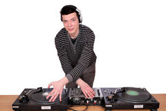 Dj with turntables. On white Stock Photo