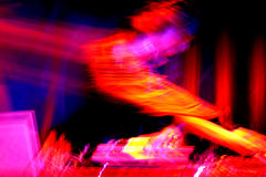 Dj at the turntables Royalty Free Stock Image
