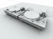 DJ Turntables 3D Sketch Stock Image
