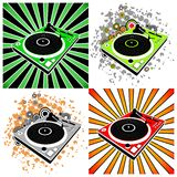 Dj turntables on bright grunge background Stock Photos