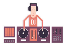DJ with turntables Stock Image