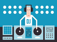 DJ with turntables Royalty Free Stock Image