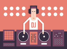 DJ with turntables Royalty Free Stock Photography