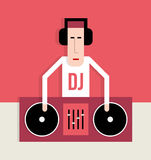 DJ with turntables Royalty Free Stock Images