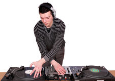 Dj with turntables play music. Studio shot Royalty Free Stock Photo